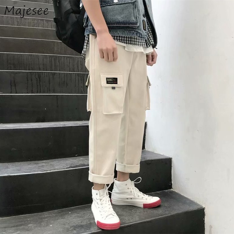 Cargo Pants Men Pockets Loose Plus Size Casual Drawstring Mens Korean Style Hip Hop Trousers Harajuku High Quality Soft Chic