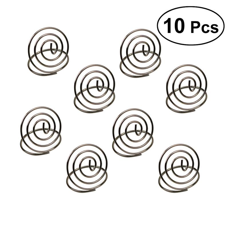10 Pcs Stainless Steel Creative Round Shape Card Holder Circle Stereo Note Pad Table Number Holders Menu Clips(Silver)