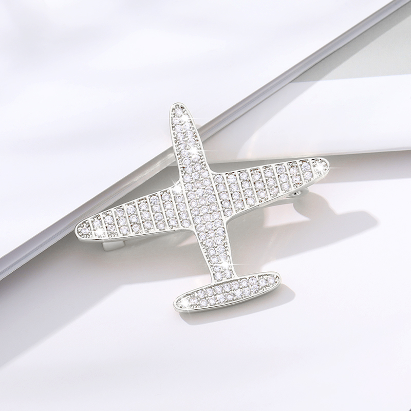 Broche Woman Luxury Jewelry Crystal Airplane Brooches For Women Men Suit Lapel Pin Rhinestone Aircraft Brooch and Pins Gift image