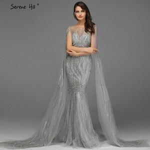Image 3 - אפור יוקרה שרוולים דובאי עיצוב שמלות נשף 2020 O צוואר קריסטל ואגלי סקסי לנשף שמלות Serene היל BLA70160
