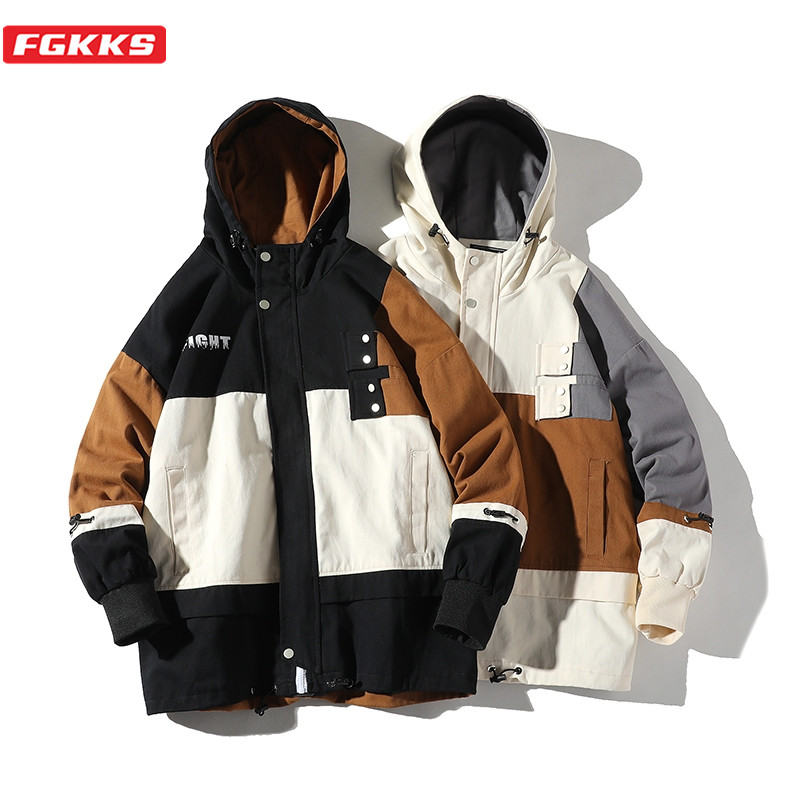 FGKKS Spring New Men Hooded Jackets Fashion Wild Men's Patchwork Jacket Male High Quality Casual Jacket Coats Brand Clothing