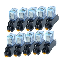 10Pcs 12V Coil Power Relay LY2NJ DPDT 8 Pin HH62P JQX-13F with Socket Base 5 set 12v dc coil power relay ly2nj dpdt 8pin hh62p jqx 13f with socket base