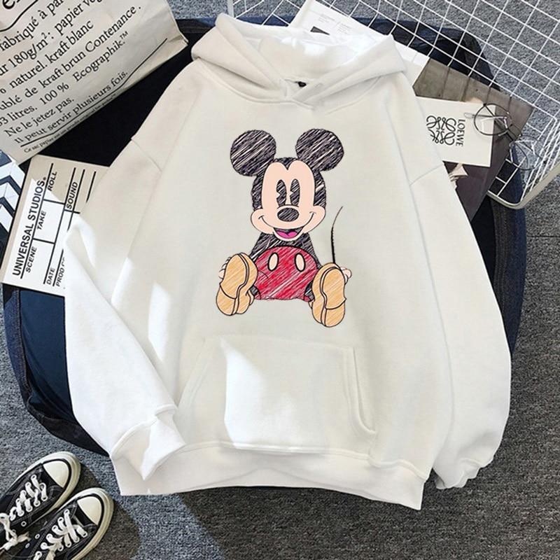Disney 2021cartoon print sweatshirt women Funny hip hop Mickey Mouse print autumn and winter fashion Harajuku style hoodie women 13