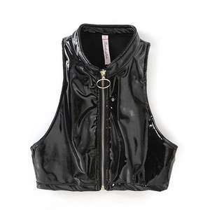 2018 Spring New Style WOMEN'S Dress Patent Leather High Collar Sleeveless Vest High-waisted Gold Zipper Tops