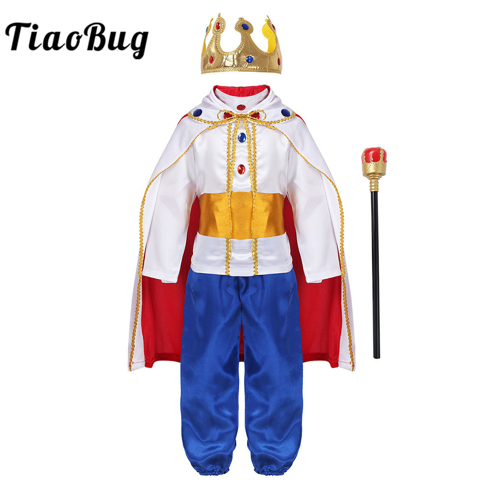 TiaoBug Kids Boys Halloween Cosplay Dress Up Medieval King Costume Prince Cloak Crown Scepter Set Carnival Roleplay Party Outfit