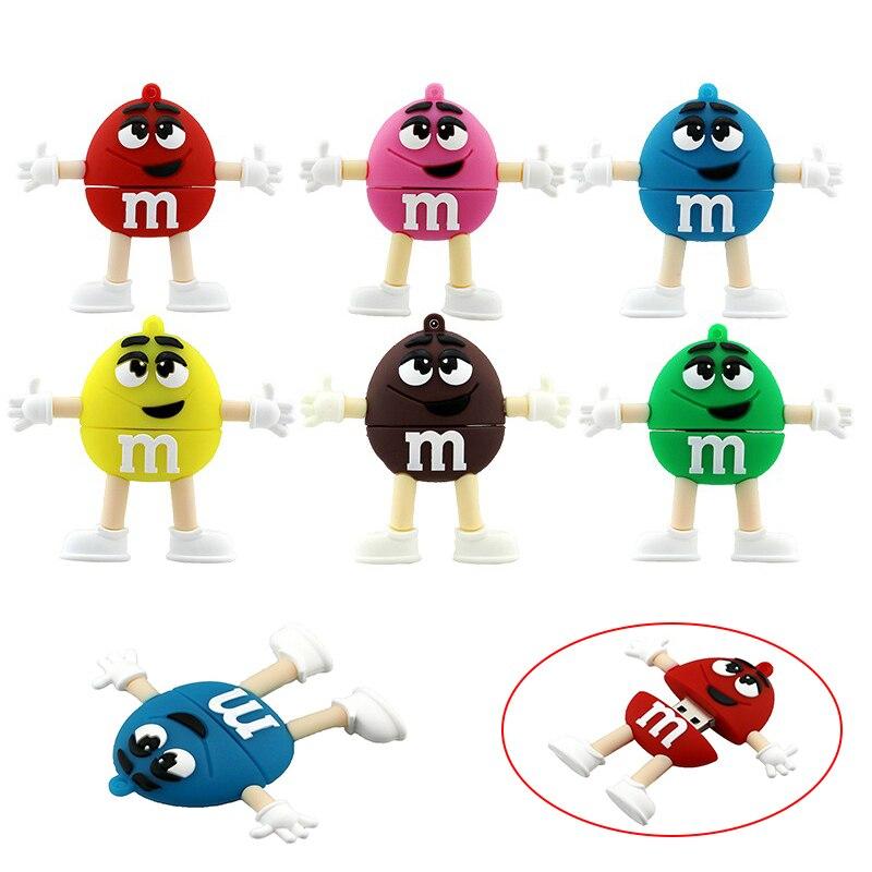 64GB Usb Flash Drive Silicone M&M Rainbow Beans Candy 32GB 128GB 64GB 256 32 4 16 8 Gb Pendrive Gift Cle USB Memory Pen Drive