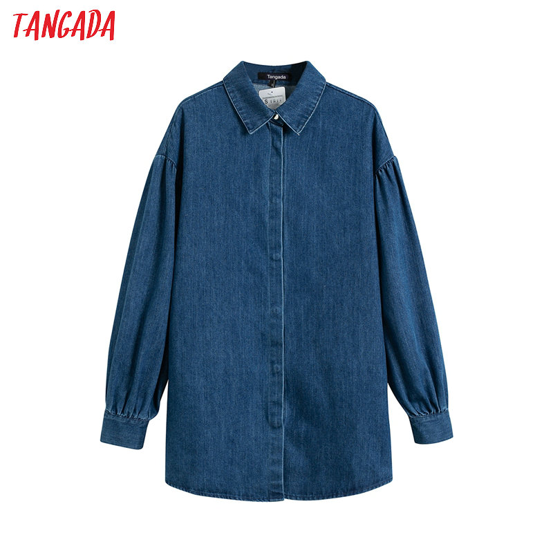 Tangada Women Retro Oversized Thick Denim Long Shirt 2020 New Arrival Chic Female Casual Loose Blouse Tops 4T18