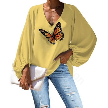 Yellow Womens Tops And Blouses Casual Lantern Sleeves Ladies Butterfly Printed Shirt Korean Summer Fashion Women Clothing