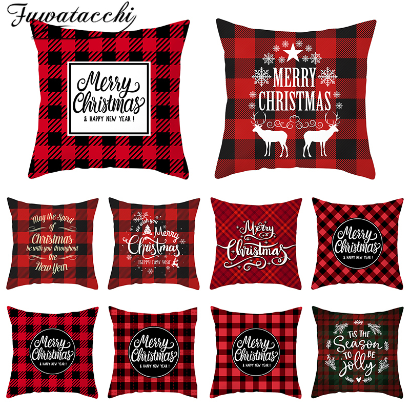 Fuwatacchi Merry Christmas Gift Cushion Cover Polyester Red Plaid Decoration Pillow Cover For Home Sofa Throw Pillowcase 45X45cm