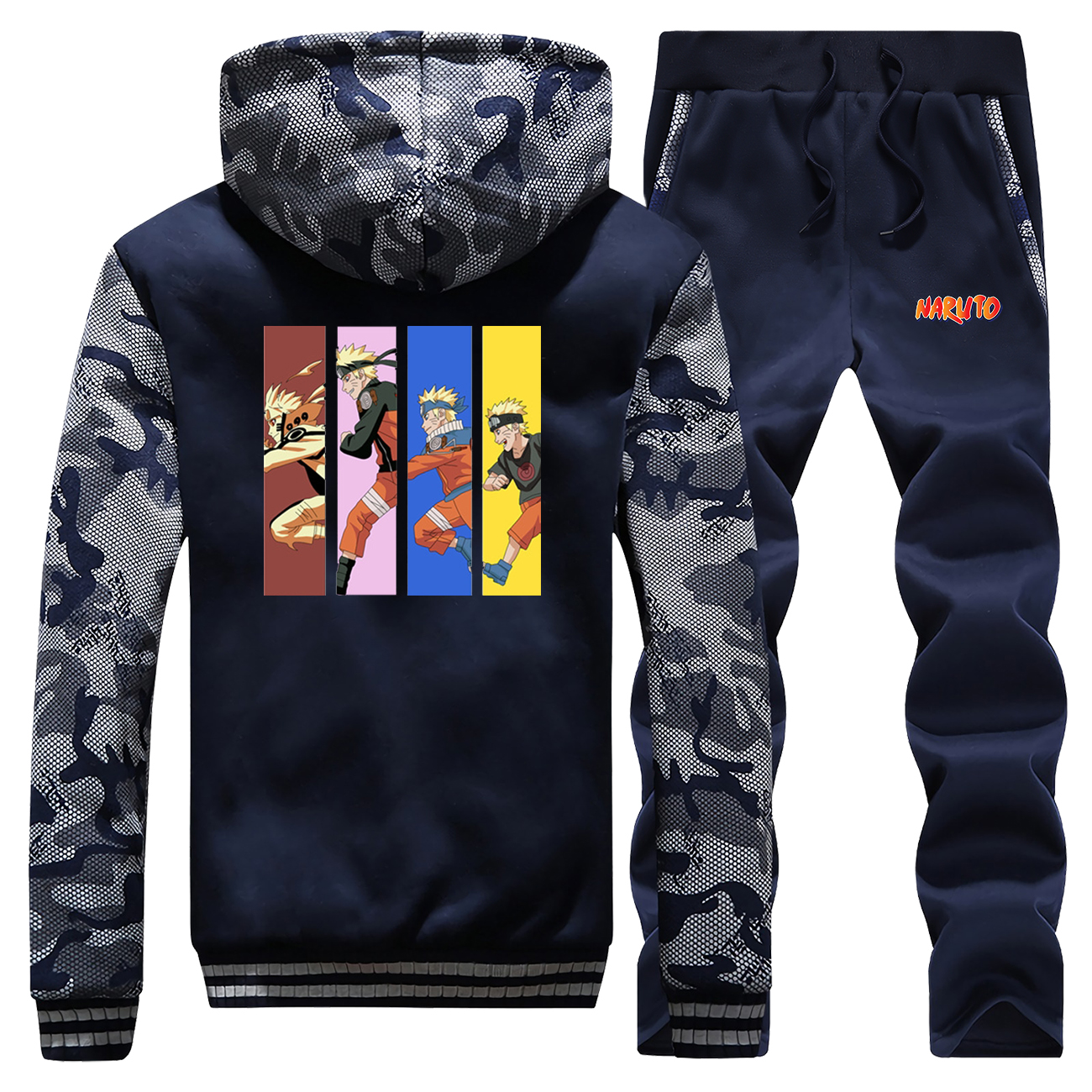 Anime Naruto Print Trend Men Hooded Hoodies Jacket+pants Winter 2Pcs Suit Sport Set Clothes Tracksuit Long Sleeve Casual Coats