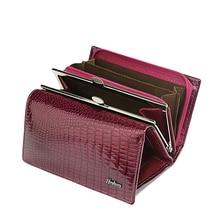HH cartera corta de piel auténtica de cocodrilo para mujer, cierre con cremallera, bolso pequeño de gran capacidad con Piel De Becerro de cocodrilo
