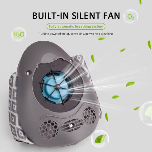Smart Electric Face Mask Anti Dust Automatic Air Supply Adult Electronic Face Mouth Mask Filter Reuseable Dustproof Waterproof 2
