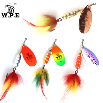 W.P.E KOMODO Spinner Lure 14g/22g 1pcs Hard Bait Spoon Lure Feather Treble Hook Metal Fishing Lure Crankbait Bass Lure Wobblers ftk fishing lure spinner bait lures 1pcs 8g 13g 19g metal bass hard bait with feather treble hooks wobblers pike tackle