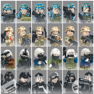 6pcs/lot Military Building Blocks Alpha SWAT WWII Army Air Force Navy Camouflage Soldiers Action Figures Bricks Toys for Boys