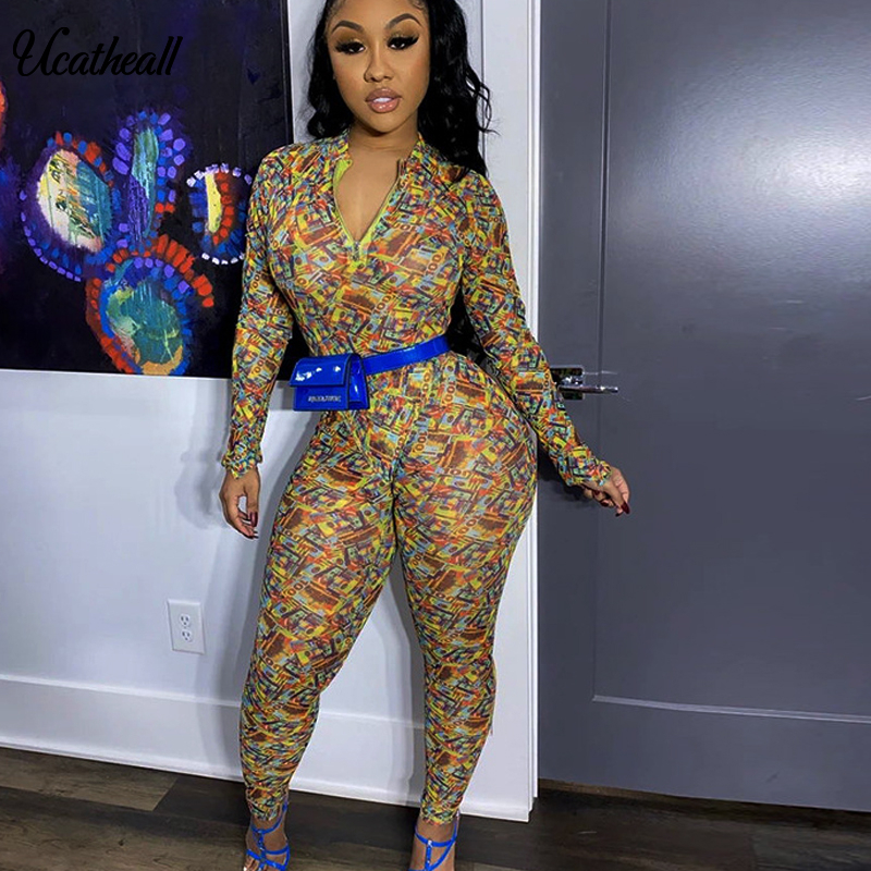 Sexy Print Zipper Jumpsuits One Piece Outfits Full Bodysuit Long Sleeve Bodycon Rompers Womens Jumpsuit