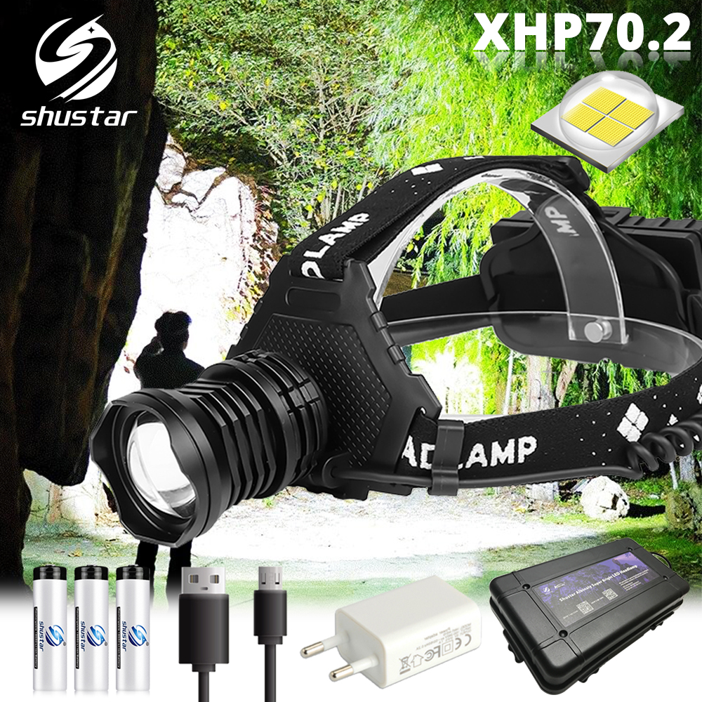 Powerful LED Headlamp With XHP70.2 Lamp Bead Fishing Headlight 5 Lighting Modes Waterproof Telescopic Zoom Camping Lamp