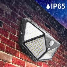 100 LED Solar Light Outdoor Waterproof 4-side Solar Sunlight Powered Lamp PIR Motion Sensor Wall Light for Garden Decor