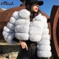 FQLWL Casual biały czarny puszysty jesień zima płaszcz ze sztucznego futra kobiet kurtka z długim rękawem przycięte Puffer futro kurtka dla kobiet znosić
