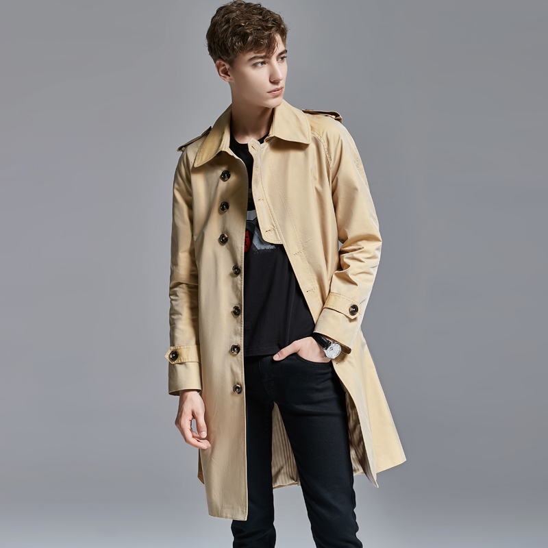 Style Trench Long Luxury Spring Autumn Single Breasted Mens Jackets And Solid Color Slim Fit Male Coats