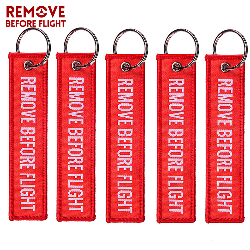 Remove Before Flight Red Embroidery Key Chains Special1