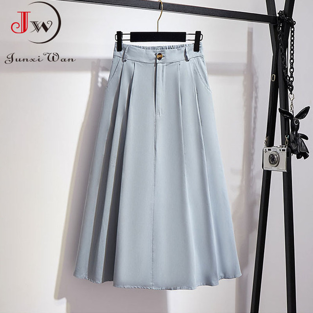 Women Cotton Skirt 2021 Spring Summer Preppy Style Solid Casual Elegant Pocket Elastic High Waist A-Line Midi Skirts Faldas 5