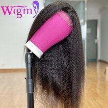 Sans colle WIGMY crépus droite dentelle fermeture perruques cheveux humains pour les femmes noires pré plumé brésilien Yaki LaceFront perruque