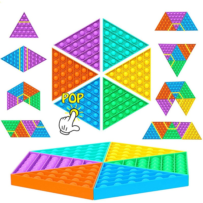 Kid Triangle Fidget Toys AntiStress Push Pop It Bubble Sensory Rainbow Fidget Toy Restore Emotion Stress Reliever Toy for Adult