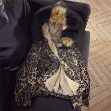 Winter Fashion Lambswool Denim Jacket Women Leopard Warm Warm Parka Thick Big Fur Hooded Jeans Jacket Oversized Loose Denim Coat