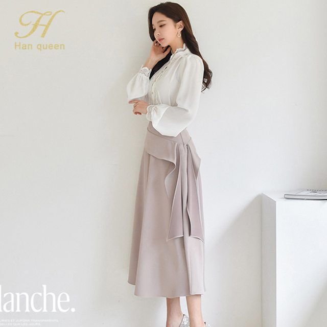 H Han Queen 2 Pieces Women 2021 Spring Sexy OL Long Sleeve Lace Office Lady Casual Loose Big Swing Women's Elegant Party Dress 6