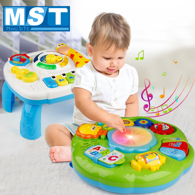 Infants Musical Instrument Learning Table Education Baby Toys Animals Piano Early Study Activity Center Game Machine For Kids
