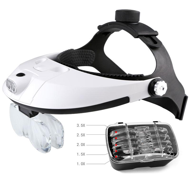 Lente d'ingrandimento per elmetto a fascia a mani libere Occhiali Lente d'ingrandimento con lente a LED e 5 lenes