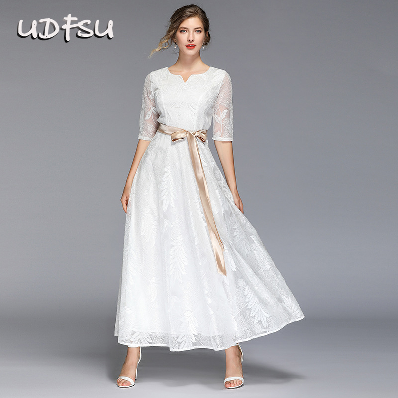 UDFSU Women Half Sleeve V-Neck Evening Dress Vintage Appliques Party Gowns Slim Fit Elegant A-Line Dresses