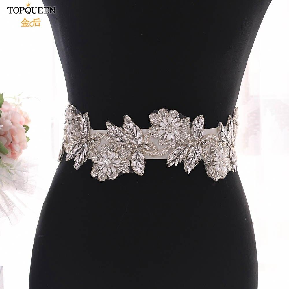 TOPQUEEN S427 Bling Belts For Women Sarees For Women Wedding Flower Sash Belt Beaded Belt For Dress Reinstone Belt Sash Belt