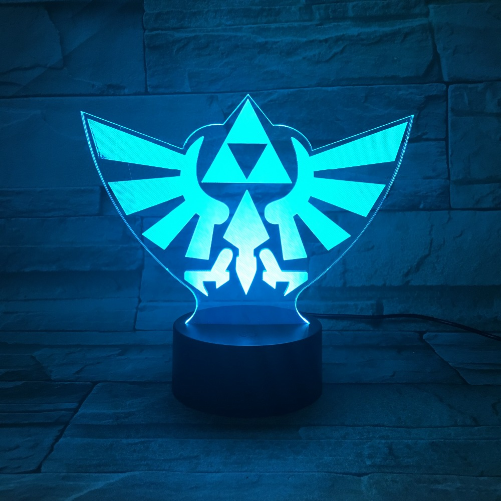 Triangle Zelda 3D LED Night Light 7 Color Changing Lamp Room Decoration Action Figure Toy Birthday Christmas Gift Dropshipping