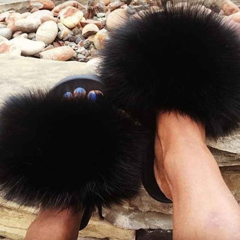Women Fox Fur Slippers Real Fox Fur Slides Lovely Plush Slippers Woman Summer Home Sandals Women Fur Slides Furry Flip Flops Hot