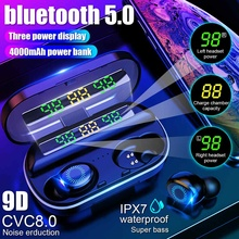 4000mAh Three LED Power Digital Display TWS Earphones bluetooth 5.0 Touch Control 9D HIFI Stereo Wir