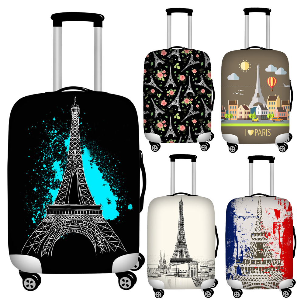 Classic Eiffel Tower Print Travel Luggage Covers Zipper Closure Trolley Suitcase Protector Cover Stretch Baggage Cover 18-32inch