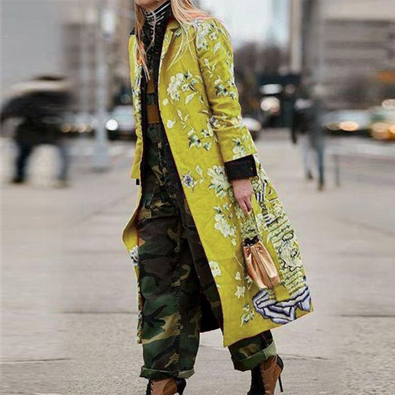 2019 Women Autumn Winter Vintage Print Slim Embroidery Plus Size Cardigan Long Coat Chinese National Style Trench Outerwear