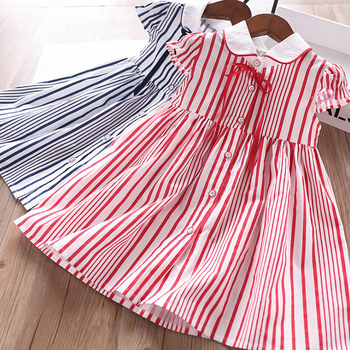 6249 Preppy Style Stripe Print Princess Baby Girl Dress 2020 Summer Party Wedding Kid Dress For Girl Wholesale Children Clothes