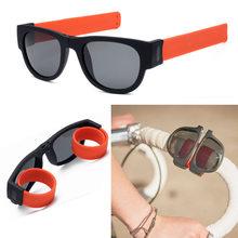 Óculos de sol de pulso dobrável mulheres tapa pulseira óculos de sol masculino feminino marca designer foldablen rolo pulseira quadrado do vintage