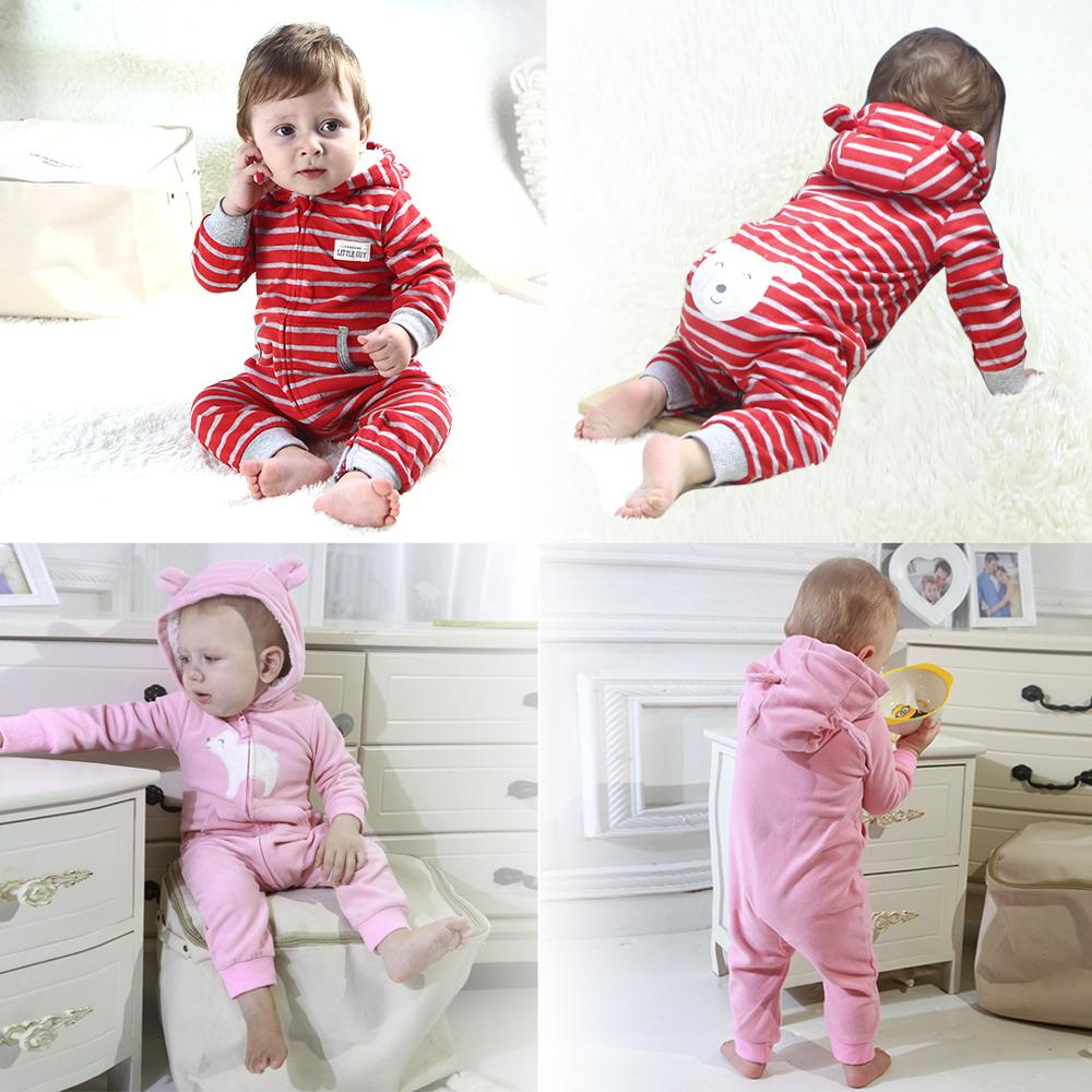 2019 Toddler boys jumpsuit fleece baby girls clothes infants   romper   baby winter outfits camouflage jumpsuit zipper up hooded 24M