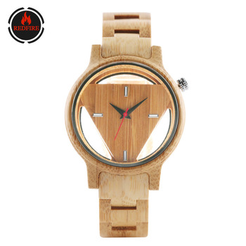 цены REDFIRE Pure Bamboo Wood Watch Men's Wooden Bangle Wristwatch Superman Triangle Wood Dial Cool Mens Watches Gifts for Daddy