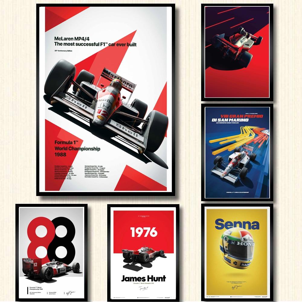 Ayrton Senna F1 Formula Grand MCLAREN Super Racing Car Fabric Decor Poster B178