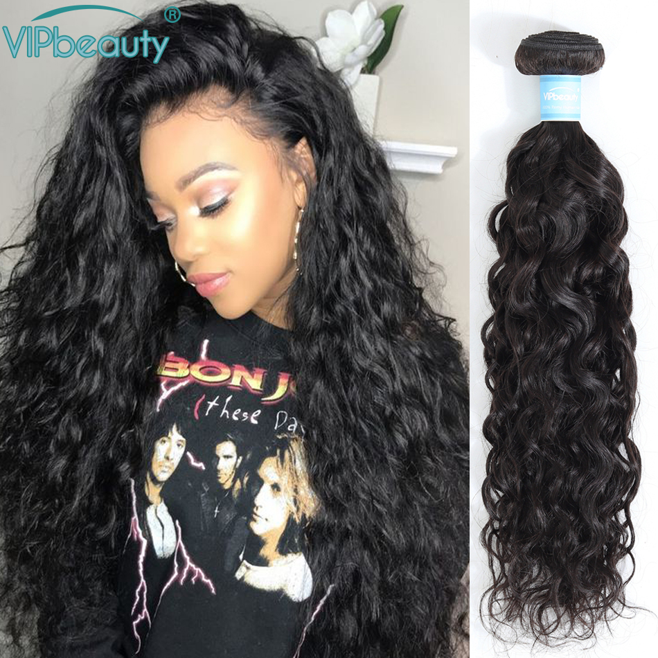 VIPbeauty Indian Water Wave Remy Hair Extension Human Hair Weave Bundles 3pcs Natural Color 1B Can Be Dyed