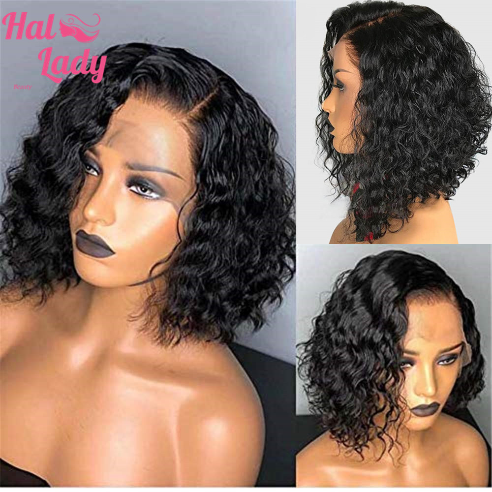 13x4 Deep Curly Bob Wig Lace Front Human Hair Wigs Brazilian Wig Preplucked Remy For Black Women 8 22 inch Fast Shipping-in Human Hair Lace Wigs from Hair Extensions & Wigs