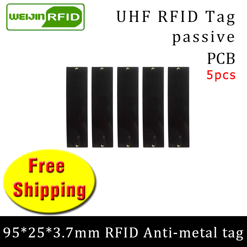 UHF RFID Metal Tag 915mhz 868mhz Alien Higgs3 EPC 5pcs Free Shipping 95*25*3.7mm Long-range Rectangle PCB Smart Passive RFID Tag