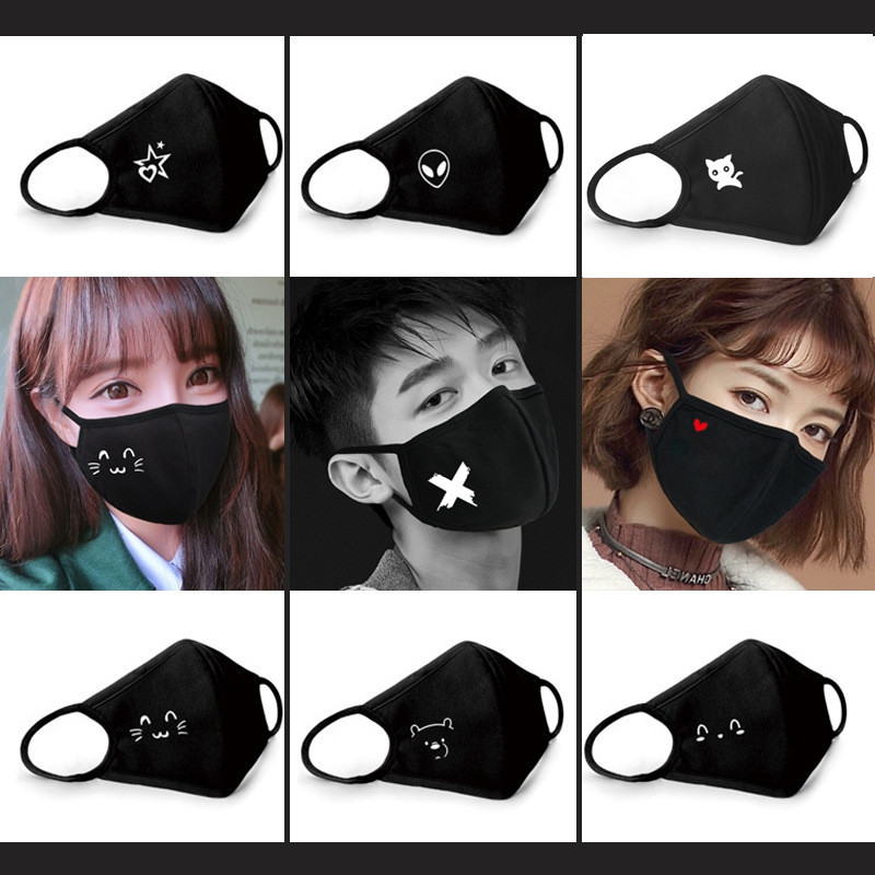 Creative Dust Mask Women Masks Cotton Breathable Funny Cute Kawaii Korean Men Personality Lovers Black Girl Fashion Bat Red Lips