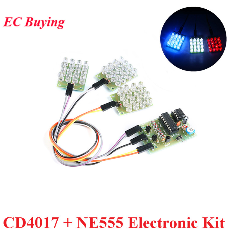 CD4017 + NE555 Electronic DIY Kit Flash Light Explosion Flashing LED DIY Learning Electronic Kit Strobe Module Production Design
