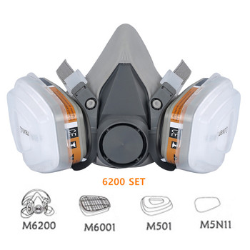 6200 Type Industrial Half Face Painting Spraying Respirator Gas Mask Suit Safety Work Filter Dust