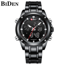 Mens Watch Top Brand Quartz Dual Display LED Screen Stainless Steel Military Large Dial Wristwatch Clock 0111